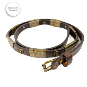 Leather Skinny Belt With Metal Detailing | Small